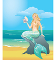 Beautiful mermaid girl with sea shell vector image vector image