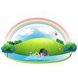 A boy swimming at the beach near the hill vector image vector image
