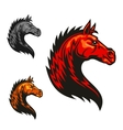 Powerful horse profile with tribal flaming mane vector image