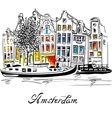 Amsterdam canal and typical dutch houses vector image