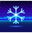 Christmas card with 80s neon snowflake vector image