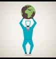 men lift the globe world vector image