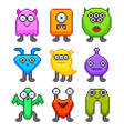 Pixel monsters for games icons set vector image