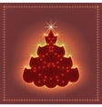 Shiny neon Christmas tree Xmas card New year vector image
