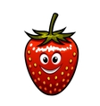 Smiling strawberry with a green stalk vector image