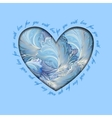 Winter frozen glass heart design Love card vector image