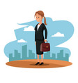 character woman manager suit briefcase cityscape vector image