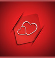 Valentines day card with two hearts vector image vector image