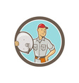 Cable TV Installer Guy Cartoon vector image vector image