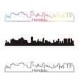 Honolulu skyline linear style with rainbow vector image