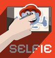 Selfie with Hand and Avatar vector image vector image