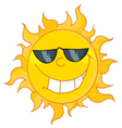 cool sun wearing shades vector image vector image
