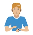 young man with watch icon vector image