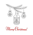 Christmas lantern hanging on fir branches vector image