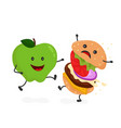 happy smile strong apple vector image