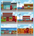 six scenes with shops along the road vector image