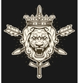 Vintage symbol of a lion head with crown vector image