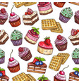 Pastry pattern of patisserie desserts vector image