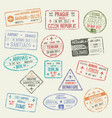 passport stamp of international travel visa design vector image