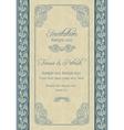 Baroque wedding invitation beige and blue vector image