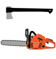 Chainsaw and axe vector image