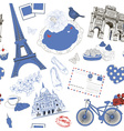 Hand Drawn Background with Paris Symbols vector image