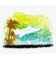 airplane with palm of tropics vector image