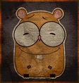 Animal grunge card with funny cartoon hamster vector image