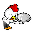 chicken character holding a food pot isolated on vector image