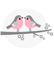 Cute bird couple on blossom branch - retro vector image vector image