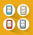 collection kawaii cellphone cute vector image