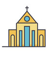 church flat line  concept vector image