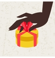 Card female hand holding a gift box vector image vector image