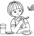 Girl and butterfly vector image vector image