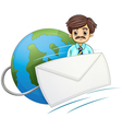 An envelope in front of the businessman with a vector image
