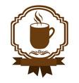 brown border heraldic decorative ribbon with mug vector image