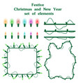christmas and new year set of elements garlands of vector image