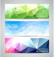 Geometric triangles banner background set vector image
