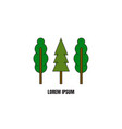 line style logotype template with trees vector image