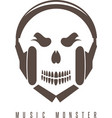 negative space concept with skull monster and vector image