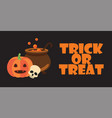 trick or treat text halloween pumpkin pot skull vector image