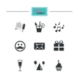 Party celebration birthday icons Music notes vector image