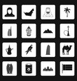 uae travel icons set squares vector image