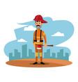 fireman helmet ax uniform cityscape labor day vector image