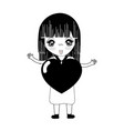 contour pretty girl with heart in the hand and vector image