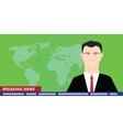 breaking news tv anchor studio man reporter vector image