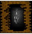 steel guitar in rock breaking through brick wall vector image vector image