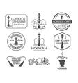 Hookah labels badges and design elements vector image