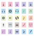 music set black icon on color sticker vector image