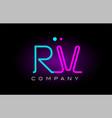 neon lights alphabet rv r v letter logo icon vector image